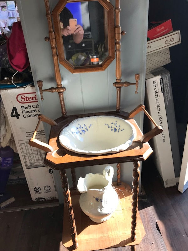 Used Vintage Antique Wash Basin With Pitcher And Bowl Solid Wood