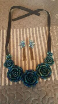 Blue Necklace and Earrings