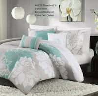Broadwell 6 Piece Print Reversible  Duvet Cover Set - Queen - Delivery Oshawa, L1J 6A8
