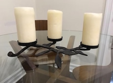 Wrought Iron Trio Pillar Candle Holder