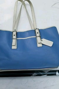 blue and white leather tote bag Burke, 22015
