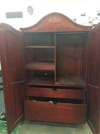 brown wooden TV hutch with flat screen television Innisfil, L9S 2C1