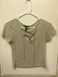 gray cage neckline cap sleeved shirt