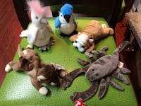 Five assorted ty beanie baby plush toys King, L0G