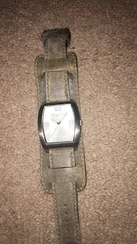 Square silver analog watch with brown leather strap Cary, 27513