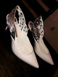 Sophia Webster Nude and Silver Heels (Size 39 fits 7.5 US perfectly)