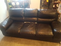 black leather 3-seat sofa