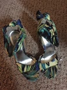 beige-green-blue open-toe ankle strap wedge shoes