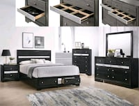Regata Black/Silver Storage Bedroom Set | B4670 Houston