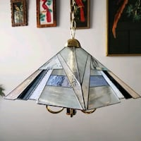 Vintage pendant chandelier, light, stained glass, gold, canopy, retro