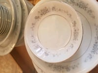 white and gray floral ceramic plate