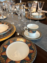 Vintage Mikasa São Paulo Dinning Set with Mikasa Jamestown Gold Stemware setting for 8 Aldie, 20105