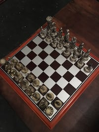Chess Set - Wood Board and Metal Pieces  Missing a rook (castle)