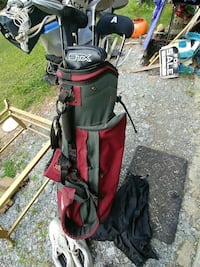 red and olive green golf bag with golf club set Concord, 28027