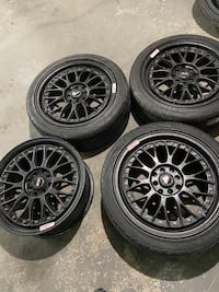 4 rims and 3 tires one rims small damag  205/45/r17 4x100 Toronto, M9W 6T5