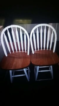 two white-and-brown wooden windsor chairs San Antonio, 78205