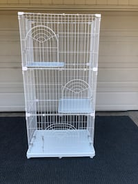 HUGE 3-TIER WIRE PET CAGE - WHITE