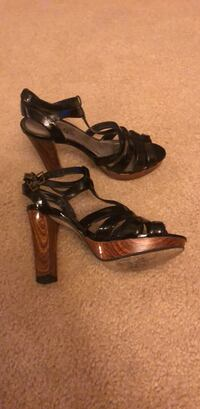 pair of black leather open-toe ankle strap heels Columbus, 31909
