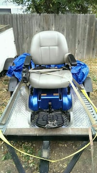 blue and gray motorized wheel chair