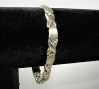 "WOMEN'S 925 STERLING SILVER "" X "" AND "" O "" CHAIN LINK SIGNED "" ""FAS"""
