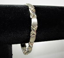 """WOMEN'S 925 STERLING SILVER """" X """" AND """" O """" CHAIN LINK SIGNED """" """"FAS"""""""