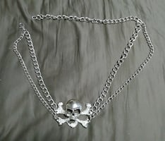 Skull Head Chain Belt with Stones