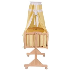 baby's brown wooden wheeled bassinet