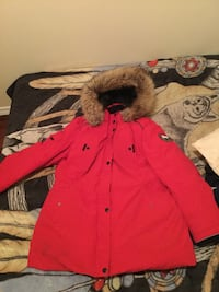 Red and brown button-up parka coat