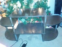 brown and gray TV stand