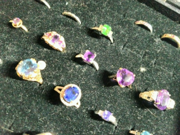 Solid gold, diamonds and gemstones.