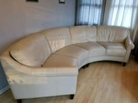 white leather padded sectional sofa
