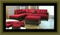 Red sectional with ottoman Adelphi, 20783