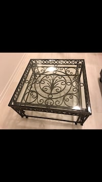 Large black metal framed glass top coffee table Oakville, L6M 4W6