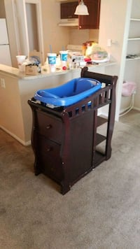 brown wooden crib with changing table Tampa, 33624