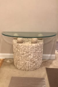 Glass table with rock front