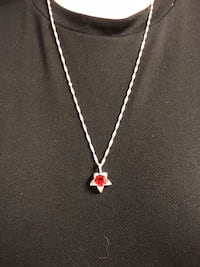 Silver chain necklace with red starburst pendent Knik, 99654