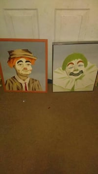 2 hand painted clown pics