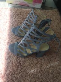 Pair of blue open toe ankle strap heels size 7 Newport News, 23606