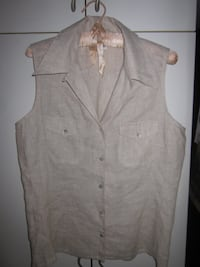 Brand New H & M Sleeveless Button Up Ladies Linen Top - Size 10 Winnipeg