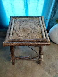 Side table with marble and birch wood