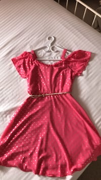 Pink and gold dress for girls size 18 from JUSTICE, use only one time . Georgina, L4P