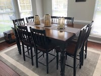 rectangular brown wooden table with six chairs dining set Charles Town, 25414