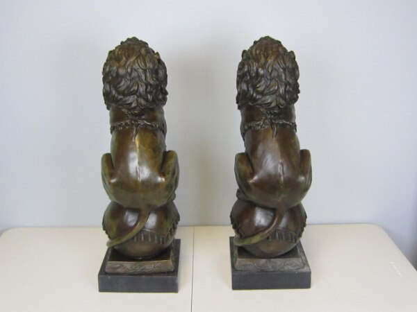 Lion Jungle King Bronze Statue on Marble Base Sculpture (25X8 Inches) 9eb3101d-15a6-440b-bd0a-5159789231be
