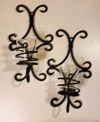 Two dark brown metal decorative sconces with glass Franklin, 37064