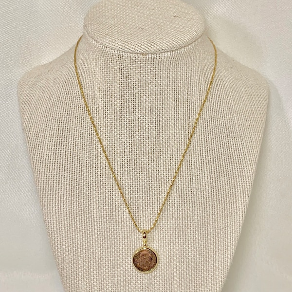 Genuine 14k Gold Roman Coin Pendant with 14k Rope Chain c0ca3662-c3b5-430d-8f20-e0cac465b561