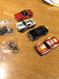 AFX cars all four cars work comes with parts one of the cars actually steer nice set $80 or best offer cash only thank you