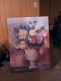 framed painting of yellow and purple rose flowers  Wilmington