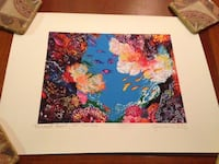"""Painted reef lithograph from Caribbean about 12"""" x 16""""  Washington, 20005"""
