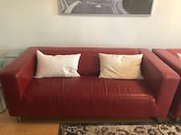 Red leather 2-seat sofas  with throw pillows Ajax, L1T 2V3