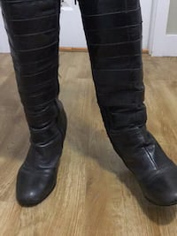 Brown leather knee high leather boots